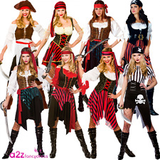 LADIES CARIBBEAN PIRATE CAPTAIN BUCCANEER ADULT FANCY DRESS COSTUME UK SIZE 6-28