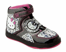 GIRLS OFFICIAL HELLO KITTY BLACK GLITTER HI TOP TRAINERS SHOES BOOTS UK SIZE 9-2