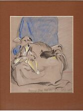 ORIGINAL pencil / pastel DRAWING, Dog & Cat, signed with initials, NOT PRINT