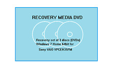 Recovery Media set of 3 discs (DVDs) for Sony VAIO VPCEH35 Windows 7 Home 64bit