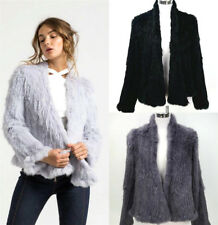 Women 100% Real Kintted Rabbit Fur Thick Jacket Coat Biger Collar Outwear