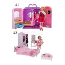 Dolls House Bedroom Miniature Sofa Bed Wardrobe Furniture Kids Play Toys Set