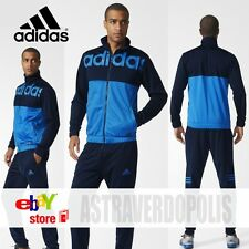 ADIDAS BLUE TRACK SUIT TRAINING TRAINER ORIGINALS STRIPE MEN JACKET TOP PANTS M
