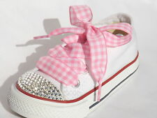 Pink Red Gingham Check Minnie & Mickey Kids Satin Ribbon Trainer Laces Shoelaces