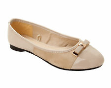 WOMENS NUDE PATENT FLAT BOW DOLLY BALLET PUMPS BALLERINA SHOES LADIES SIZE 3-8