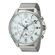 Tommy Hilfiger White  Mens Analog Casual Silver Watch 1791277 1791273