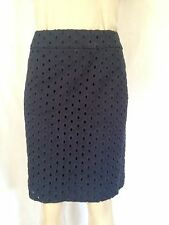 J. Crew Navy Blue Circle Eyelet Fully Lined Pencil Skirt Sz 8