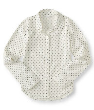 aeropostale kids ps girls' long sleeve polka dot woven camp shirt ivory