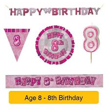 AGE 8 - Happy 8th Birthday PINK GLITZ - Party Balloons, Banners & Decorations