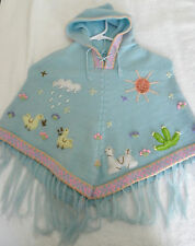 Brand New Made In Peru Arpillera Poncho with Hood Size T4 Powder Blue P7070025