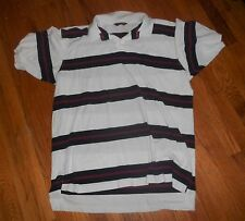 Mens Brooks Brothers White/Blue/Burgundy Striped S/S Pique Polo Shirt XL