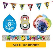 AGE 8 - Happy 8th Birthday Party Baners, Balloons & Decorations