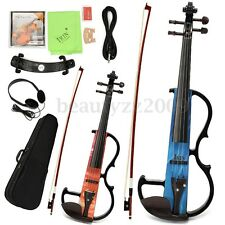 Portable 4/4 Full Size Acoustic Violin Fiddle Set With Bow Rosin Carry Case