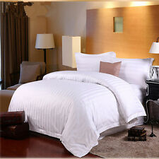 Comfortable Home Hotel Bedding White Solid Stripe 100% Cotton 4pcs Bedding Set