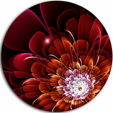 Design Art 'Fractal Red and Yellow Flower' Graphic Art Print on Metal