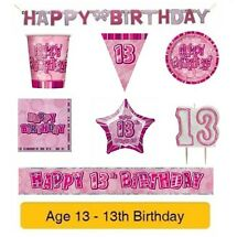 AGE 13 - Happy 13th Birthday PINK GLITZ - Party Banners, Balloons & Decorations