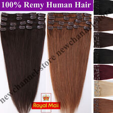 8 PICS Premium Real Clip in Full Head Remy Human Hair Extensions Blonde UK C146
