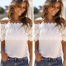 Fashion Women Floral Blouse Lace Splicing Off-shoulder Casual Top T-Shirt Summer