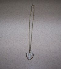Antique 1/20 12K GOLD Filled Mother of Pearl Heart Pendant Locket Necklace Chain