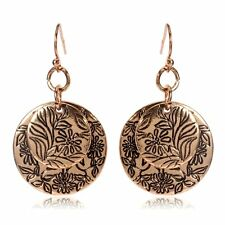 Woman Tribal Art ethnic Miao Hmong earrings dangle Brass silver Round FREE GIFT