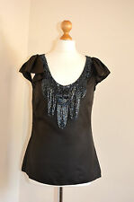LADIES DESIGNER TED BAKER 100% SILK BROWN BEADED PARTY,OCCASION TOP UK10 VGC