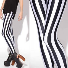 Black & White Stripe Printed Leggings Stocking Skinny Pants Slim Trousers Womens