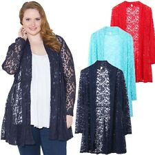 Womens Ladies Plus Size Cropped Lace Long Sleeve Lace Jacket Casual Cardigan Top