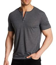 John Varvatos Star USA Men's Short Sleeve 3 Button Henley Black $78 msrp NWT
