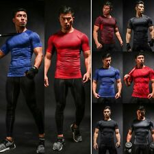 Men ATHMILE Compression Tee Short Sleeve T-shirts Tops Gym Sport Fitness Jersey