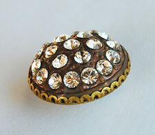 VINTAGE RAW BRASS BUTTON or BEAD SWAROVSKI Crystal Turquoise RHINESTONES • 21mm