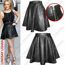 NEW LADIES LEATHER LOOK SKATER SKIRT ZIP PARTY FLARED WOMENS MINI SKIRTS DRESS