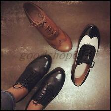 US Lady Womens Oxfords Leather Retro Brogues Flats Wing tip Lace Up Casual Shoes