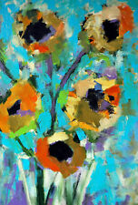 Marmont Hill 'Modern Sunflowers' Framed Painting Print on Wrapped Canvas