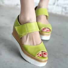 Womens Casual Candy Colors Peep toe Platform Wedges High heel Sandals Shoes Size