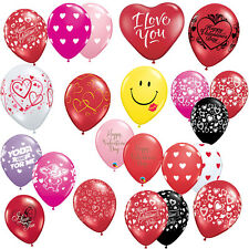 """VALENTINE'S DAY - 6 x Latex 11"""" BALLOONS (Helium/Air) (Qualatex) Love/Hearts/Red"""