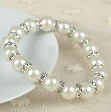 White Pearl Bracelet With Silver Diamante AAA Beaded Stretch Wedding Bracelet.