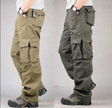 New Mens Casual Overalls Loose Straight Cargo Pants Military Outdoor Trousers SZ
