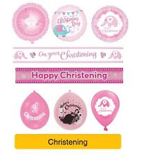 PINK/GIRL CHRISTENING Party Banners, Balloons, Decorations
