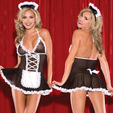 Adult Cosplay Uniform Naughty French Maid Costume Fancy Mesh Dress Outfit Sets