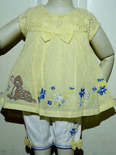 BNWT Baby Girls Disney Bambi Lemon Dress & White Trousers Outfit 3-6 months