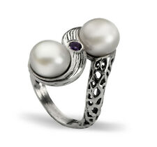 Sterling Silver 925 Ring fresh water pearl white Shablool Ring