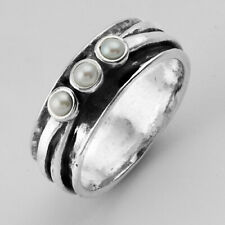 925 Sterling Silver SHABLOOL Ring White Fresh Water Pearl journey Jewelry