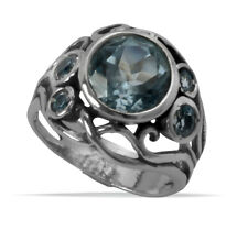 925 Sterling Silver Hand Crafted SHABLOOL Ring Blue blue topaz cz solitaire