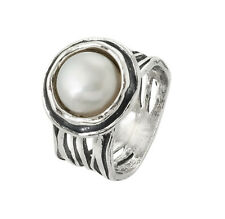 Sterling Silver 925 Ring Solitaire Ring Fresh Water Pearl White  Ring