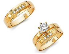14k Yellow Gold Trio His Hers Diamond Engagement Ring Set Bridal Wedding Band