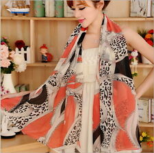 Women's Fashion Soft Velvet Chiffon Scarf Chain Leopard Print Long Shawl Scarves