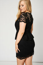 Black Lace Peplum Cocktail Party Dress Women's Ladies Spring Summer 14 - 20 UK