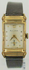 Rare Vintage 1955 Bulova 10K Gold Plate Watch 8AC Faucted Crystal Art Deco 21J