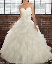 White/Ivory Organza Wedding Dress Bridal Gown Stock Size 6-8-10-12 14 16 18