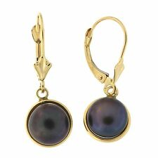 14k Gold Freshwater Cultured Button Pearl Leverback Dangle Earrings